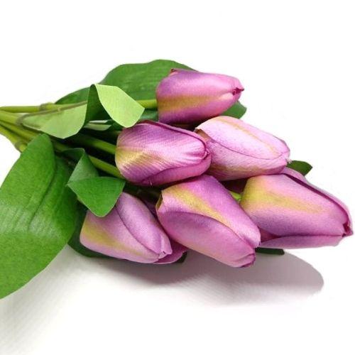 selyem-tulipan-csokor-lila-zold-cirmos-hobbykreativ