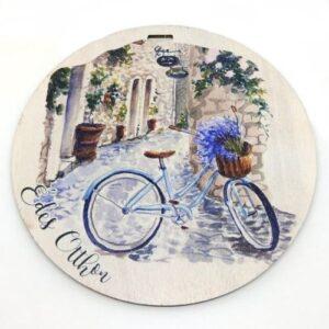 Édes otthon festett kör fatábla biciklis fúrt 13 cm