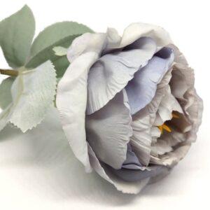 Hamvas levelű selyem bazsarózsa szál vintage kék
