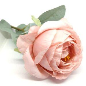 Hamvas levelű selyem bazsarózsa szál púder-rózsaszín