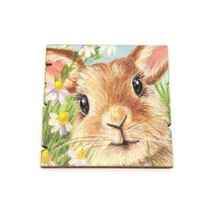 Húsvéti festett fatábla nyuszis virágos 5 x 5 cm