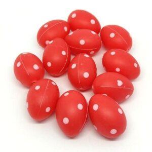 Műanyag pöttyös tojás piros kicsi 3,5 cm 12 db