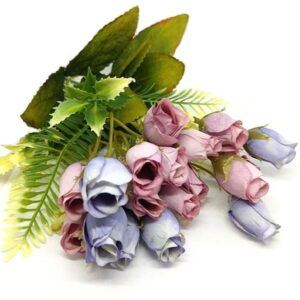 Selyem bimbós rózsa csokor mályva-lila 6 szálas