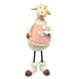 Kerámia bárányka rózsaszín kötényben 13,5 cm
