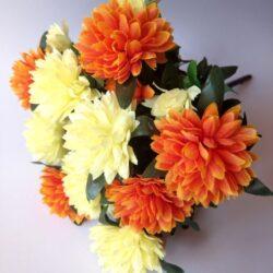 selyem-dalia-csokor-kremsarga-narancs-1-hobbykreativ