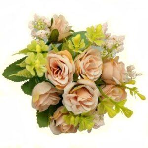 Bogyós selyem rózsa csokor páfránnyal púder-rózsaszín 5 szálas