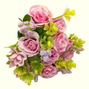 Bogyós selyem rózsa csokor páfránnyal rózsaszín 5 szálas