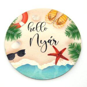 Hello nyár tengerpartos festett kör fatábla 7 cm