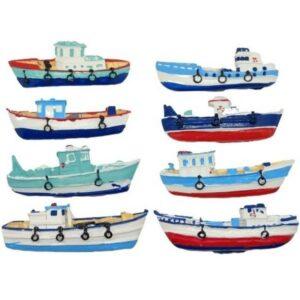 Öntapadós kerámia halászhajó többféle változat 8 x 2,5-3 cm 1 db