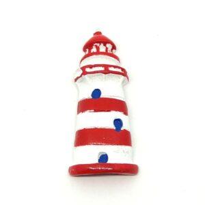 Öntapadós kerámia világítótorony fehér-piros csíkos 5 x 2 cm