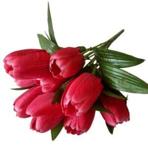 Selyem nagyfejű tulipán csokor magenta cirmos 9 szálas