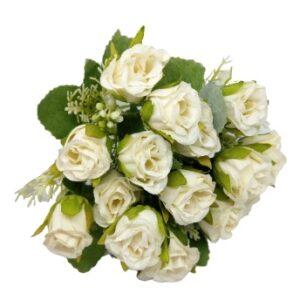 Selyem törpe rózsa csokor bogyós díszítővel fehér 5 szálas