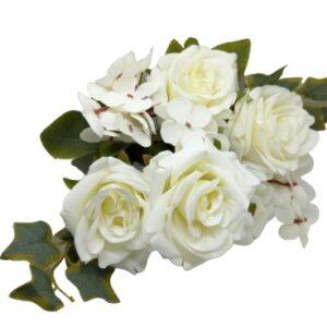 Selyem vintage rózsa csokor borostyánnal fehér 5 szálas