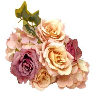 Selyem vintage rózsa csokor borostyánnal pasztell mályva-mályva