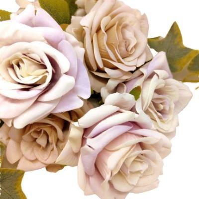 selyem-vintage-rozsa-csokor-borostyannal-pasztell-lila-latte-1-hobbykreativ