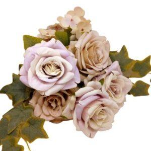 Selyem vintage rózsa csokor borostyánnal pasztell lila-latte