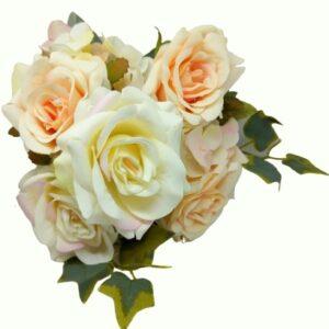 Selyem vintage rózsa csokor borostyánnal paszt.rózsaszín-krém
