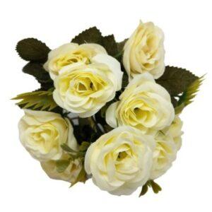 Selyem kis csészeformájú rózsa csokor krém 5 szálas