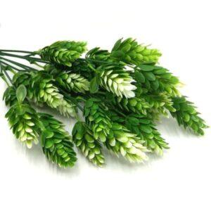 Ananászfű műanyag díszítőelem zöld-fehér 7 ágas
