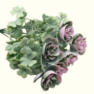Virágos lóhere műanyag díszítőelem hamvas rózsaszín 7 ágas