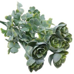 Virágos lóhere műanyag díszítőelem hamvas zöld 7 ágas