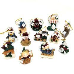 Karácsonyi díszítő apró kerámia