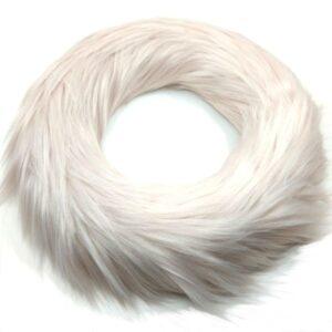 Hosszúszőrű szőrmével bevont koszorú gyöngy púder 25 cm