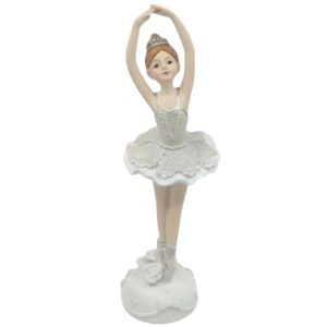 Kerámia balerina csillámos ruhában felemelt karral 17 cm 1 db