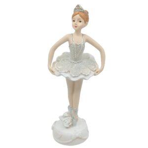 Kerámia balerina csillámos ruhában leengedett karral 17 cm 1 db