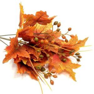 Őszi textil levél csokor bogyókkal narancs-piros 5 ágas