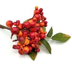 Polifoam bogyós ág levéllel narancs-piros