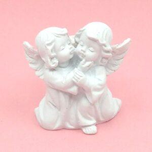 Puszizkodó angyal pár kerámia figura 5,5 x 5,5 cm 1 db