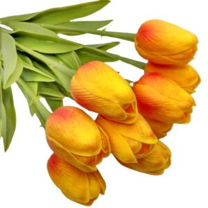 Élethű PU gumis levelű tulipán cirmos pirosas sárga többféle kiszerelés
