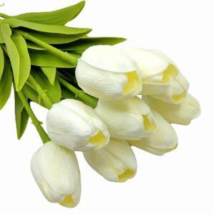 Élethű PU gumis levelű tulipán ekrü többféle kiszerelés