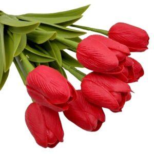 Élethű PU gumis levelű tulipán piros többféle kiszerelés