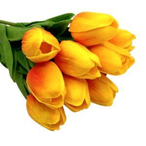 Élethű PU tulipán cirmos pirosas sárga többféle kiszerelés