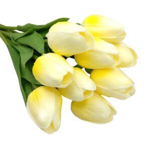 Élethű PU tulipán cirmos pasztell sárga többféle kiszerelés