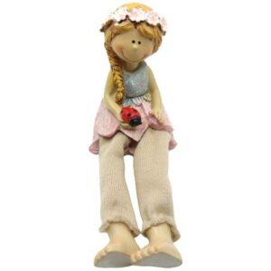 Lógólábú kerámia lányka virágszoknyában katicával 8 cm