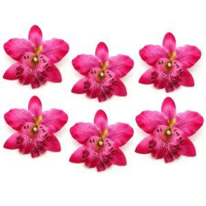 Selyem orchidea fej sötét rózsaszín 6 db