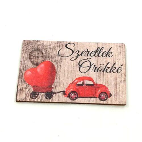 szeretlek-orokke-festett-fatabla-piros-autoval-hobbykreativ