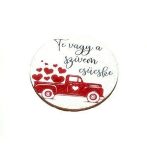 Te vagy a szívem csücske festett fatábla piros furgonnal 5 cm 1 db