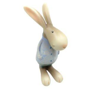Buci nyuszi fiú kerámia figura kék kabátban 17 cm