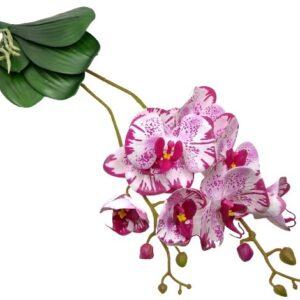 Élethű latex orchidea levéllel ciklámen-ekrü pöttyös 2 szálas