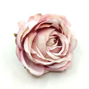 Extra sok szirmú selyem nagy rózsa fej vintage mályvás rózsaszín 1 db