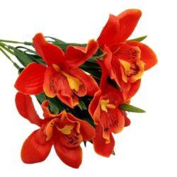selyem-cymbidium-orchidea-csokor-narancspiros-hobbykreativ