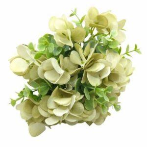 Selyem hortenzia csokor eukaliptusz levelekkel ekrü-zöld 10 szálas