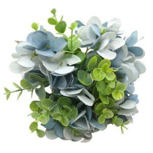 Selyem hortenzia csokor eukaliptusz levelekkel kék 10 szálas