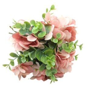 Selyem hortenzia csokor eukaliptusz levelekkel rózsaszín 10 szálas