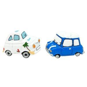 Öntapadós kerámia autó párban kék-fehér 5 cm 2 db