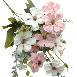 Selyem havasi szegfű csokor fehér-pasztell rózsaszín 5 ágas